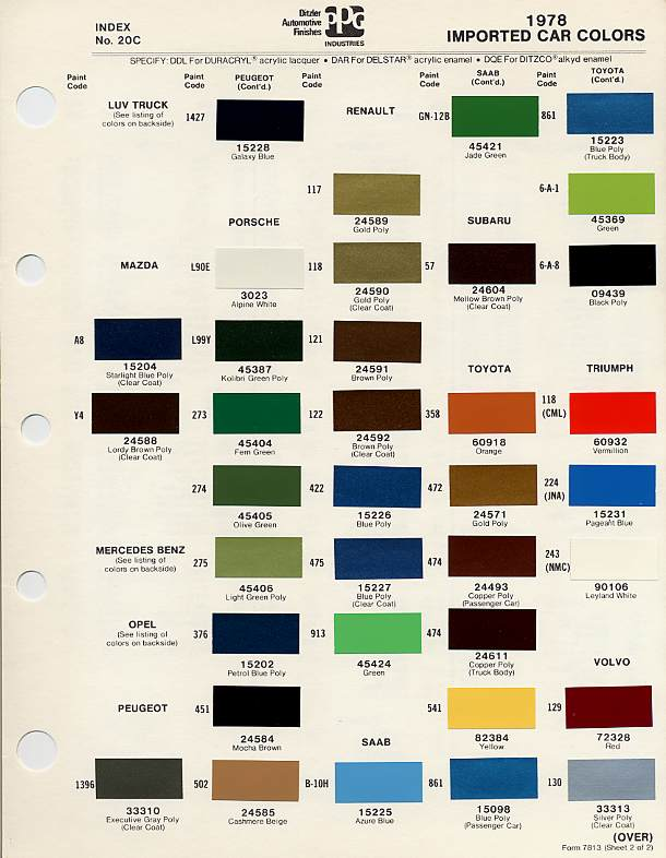 Mini Cooper Paint Code >> BMC/BL Paint Codes and Colors : How-To Library : The Mini Shrine